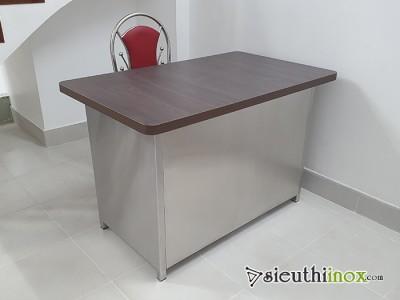 bàn làm việc inox mặt gỗ