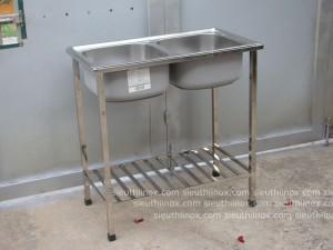 Bồn rửa chén inox 2 hố kèm chân, cr-KG7843