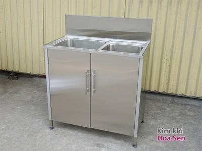 Tủ chậu rửa inox 2 hố lệch, inox 304