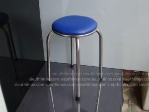 Ghế đôn inox có nệm màu xanh