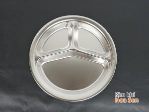 Khay cơm inox 3 ngăn tròn, 3NT
