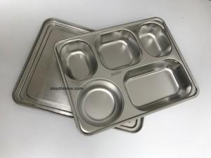 Khay cơm inox 5 ngăn, nắp inox, 304