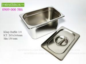 Khay inox Buffet - Khay GN 1/4- Khay Topping - Khay đựng thực phẩm cao cấp