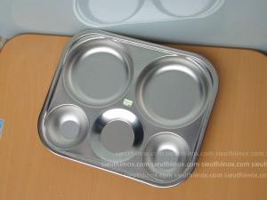 Khay cơm inox 5 ô tròn KK - inox 304 dày 1mm