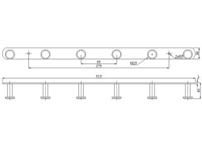 Móc áo inox 6 khuyên tròn, BN326