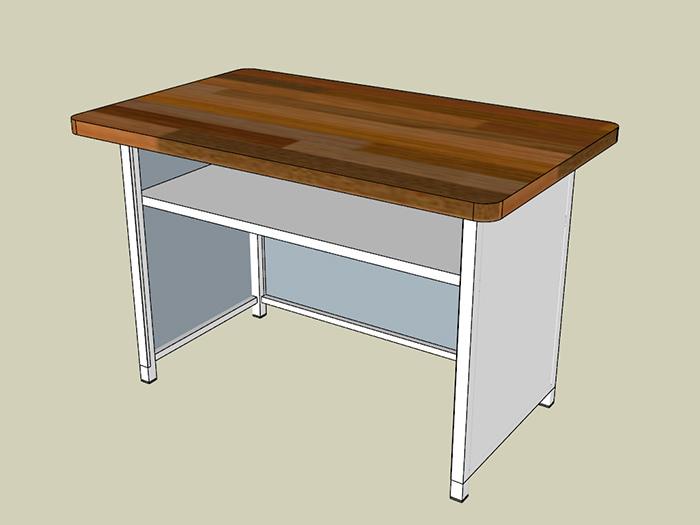 Mẫu bàn làm việc bằng gỗ và inox