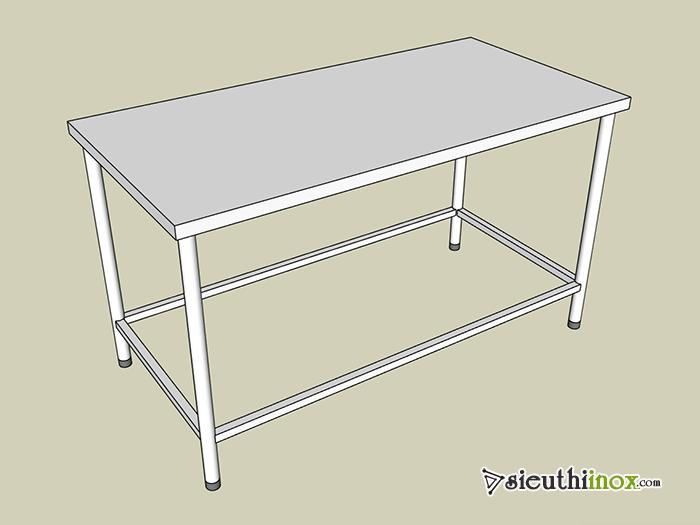 Mẫu bàn inox 1 tầng, giằng chân 4 cạnh, chân ống tròn
