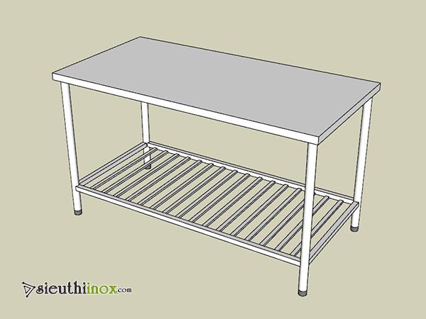 bàn inox 2 tầng với chân ống tròn