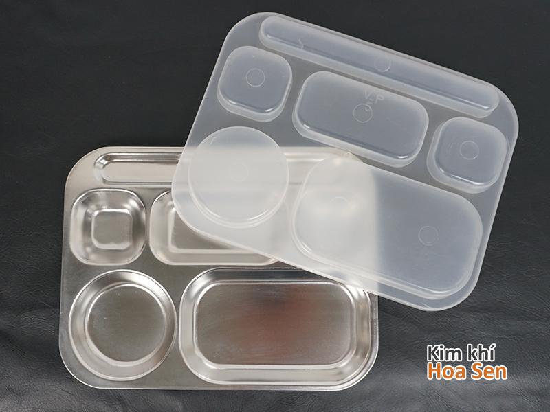 Khay cơm inox 6 ngăn 6N3225 kèm nắp nhựa
